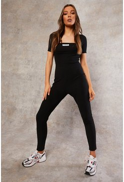 Black Recycled Rib Unitard