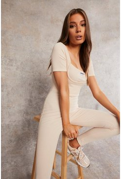Ecru white Recycled Rib Unitard