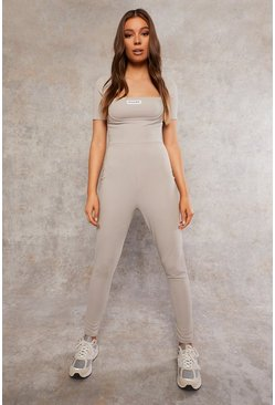 Grey Recycled Rib Unitard