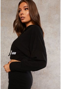 Black Recycled Crop Hooded Sweat