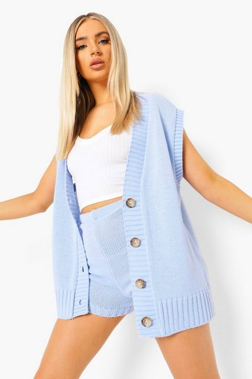 Blue Tank Cardigan And Shorts Knitted Co-ord