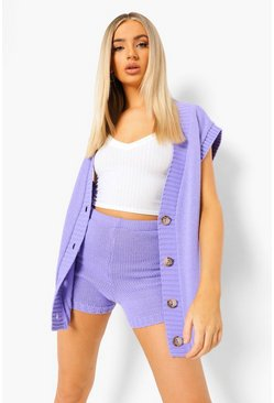 Lavender purple Tank Cardigan And Shorts Knitted Co-ord