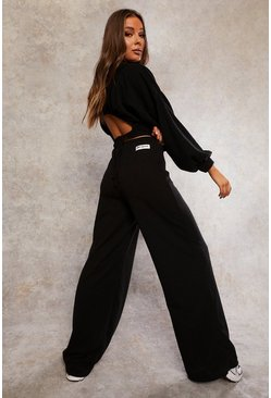 Black Recycled Wide Leg Jogger