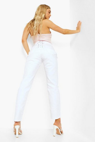 White Straight Leg Jeans With Lace Up Bottom Detail