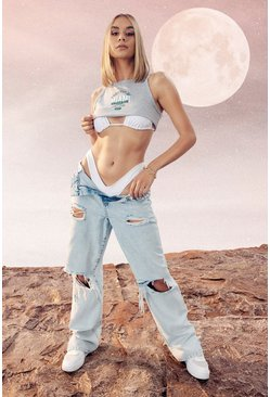 Light blue blue Acid Wash Extreme Distressed Boyfriend Jean