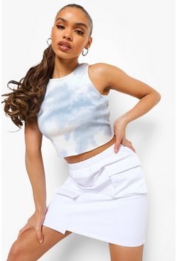 Ivory white Shell Pocket Mini Skirt