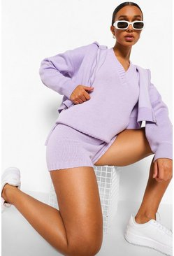 Lilac purple Tank And Shorts Knitted Co-ord