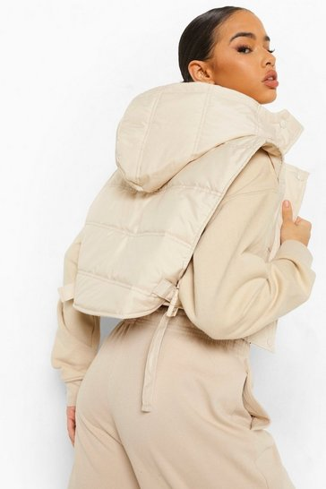 Stone beige Buckle Detachable Hood Crop Gilet