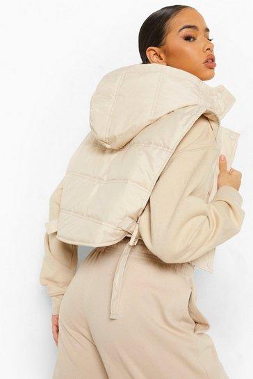 Stone beige Buckle Detachable Hood Crop Gilet