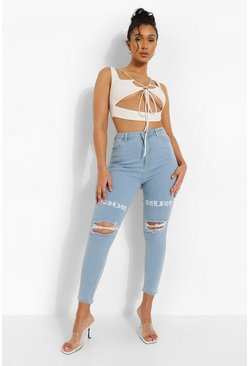 Light blue Distressed Skinny Jeans With Thigh Print