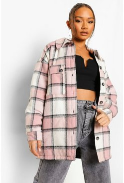 Pastel pink pink Contrast Pastel Oversized Check Shacket