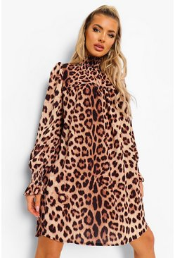 Brown Leopard Print High Neck Dress