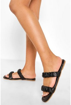 Black Ruched Double Strap Sandal