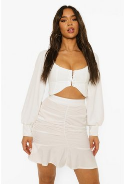 White Ruched Frill Hem Mini Skirt