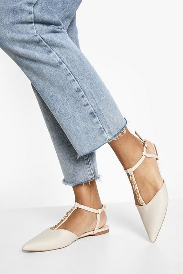 Nude  Chain Detail Patent Pointed Ballerina