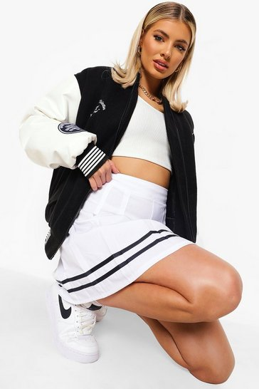 White Sports Stripe Hem Tennis Skirt