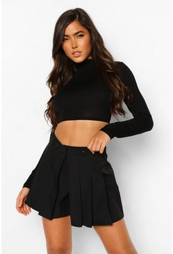 Black Full Hem Pleated Skort