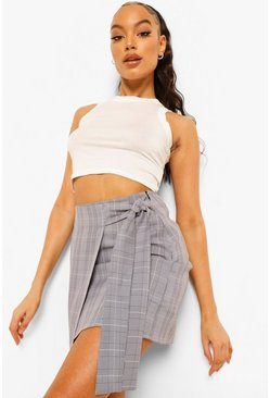 Black Check Wrap Tailored Mini Skirt