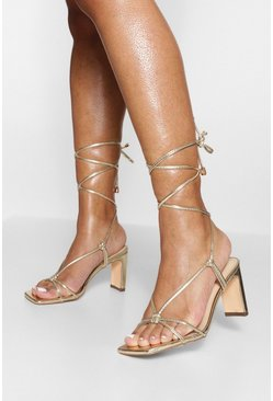 Gold metallic Strappy Heeled Sandal