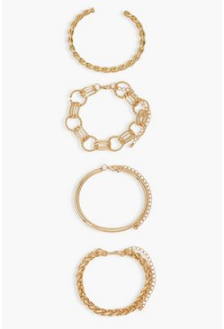 Gold metallic Bangle And Chain 4 Piece Bracelet Pack