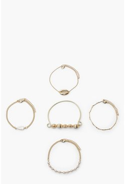 Gold metallic Shell Bracelet Pack