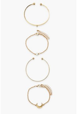 Gold metallic Horn Celestial 4 Pack Bracelet Set