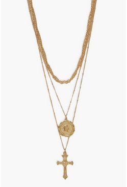 Gold metallic Cross And Coin Layered Pendant Necklace