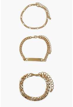 Gold metallic Tag Bracelet 3 Pack
