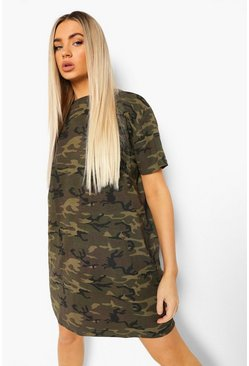 Khaki Camo T-shirt Dress
