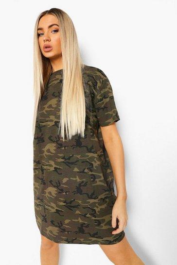 Khaki Camo T-shirt Dress