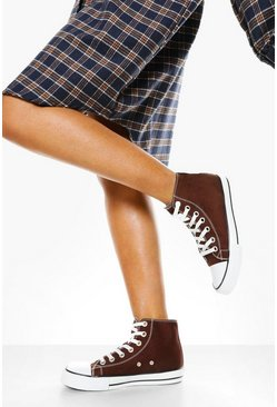 Chocolate brown High Top Canvas Trainers