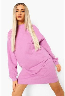 Lilac purple Basic Super Oversized Sweater Dress