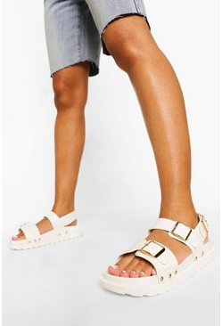 White Croc Triple Buckle Sporty Dad Sandal