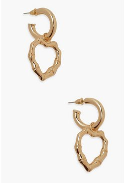 Gold metallic Bamboo Heart Hoop