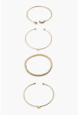 Gold metallic Celestial Moon/star Diamante Bracelet Pack