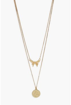 Gold metallic Butterfly And Coin Layered Necklace