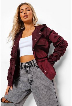 Wine red Ruched Sleeve Oversized Rain Mac