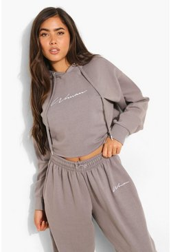 Charcoal grey Woman Script Cropped Hoodie