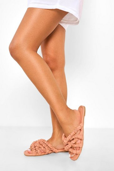 Pink Ruched Straps Sandal
