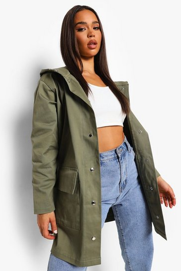Olive green Hooded Rain Mac