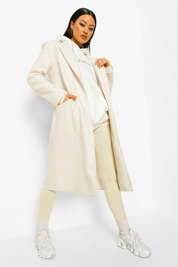 Cream white Shoulder Pad Longline Wool Look Coat