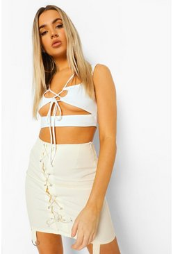 Ivory white Corset Lace Up Mini Skirt