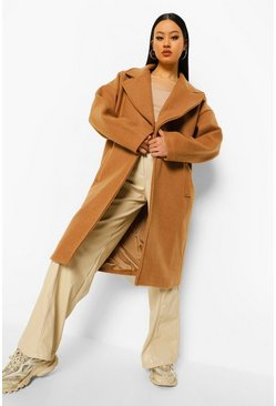 Camel beige Extreme Collar Wool Look Coat