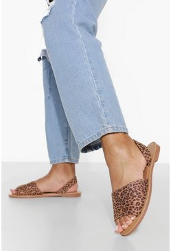 Wide Fit Leopard Peep Toe Sandal