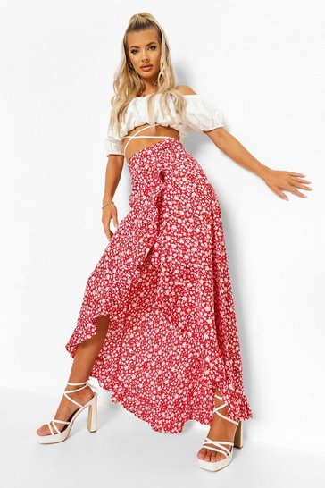 Red Ditsy Floral Ruffle Wrap Maxi Skirt