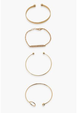 Gold metallic Diamante 4 Pack Simple Day Braclets