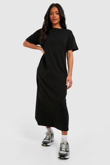 Black Basic T-shirt Maxi Dress