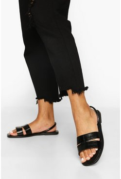 Black Wide Fit Cut Out Strap Slingback Sandals