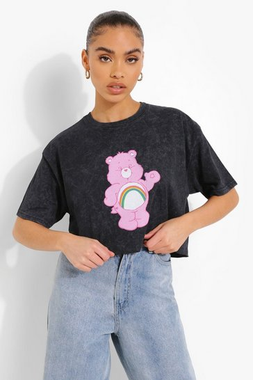 Black Acid Wash Care Bears License Cropped T-shirt
