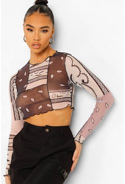 Multi Bandana Mesh Seam Long Sleeve Crop Top